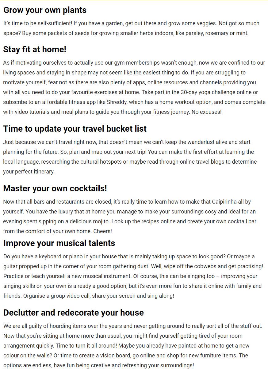 10 home quarantine activities